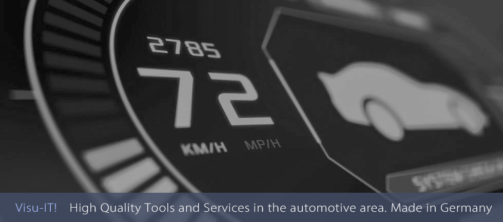 A Car Dashboard For Illustration Purposes. The Company Visu-IT!, Located In Regensburg (Germany), Offers High Quality Tools And Services In The Automotive Area, Especially For The ECU Function- And Software-development.